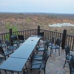 restaurant seats overlooking water hole