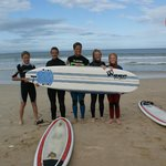 Heinrich and the students about to paddle out