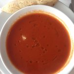 Lovely tomato soup and home made roll