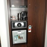 Coffee Machine, fridge and safe