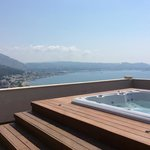 the hot tub decking area view
