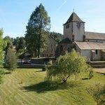 View of Auberge behind church