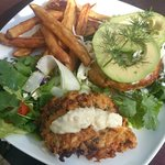 Thai Fish burger with the bread replaced with gluten-free fritte! for those carb free days