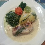 Snowfish with potatoes and spinach