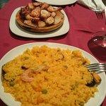 Paella de marisco, Pulpo a feria y potito de paella
