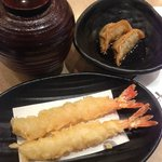 Tempura Prawns, Gyoza, and Miso Soup