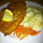 chicken schnitzel and butter potatoes