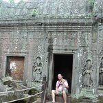 resting on ancient temple room