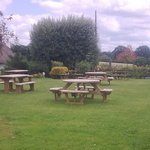 Large garden with lots of seating and good views