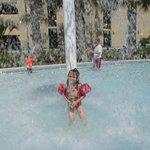 Having fun at the back pool area....
