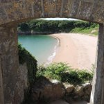 Barafundle Bay arch from the top