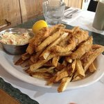 Fried yellow perch and chips.