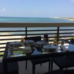 Balcony breakfast overlooking the ocean from the Presidential Suite
