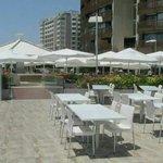 Outside seating of aquamarine restaurant