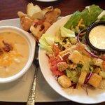 Potato soup and salad