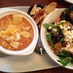 Tomato soup and salad