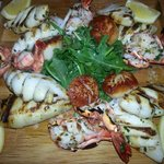 Seafood platter Grilled Shrimp, Grilled Calamarri, Pan seared scallops
