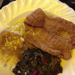 Fried catfish, mashed potatoes/gravy and spicy greens!
