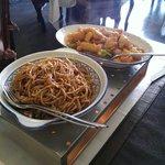 Orange chicken and egg noodles