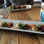 Fabulous scallops and roast belly pork from the 'specials' starter board. Fish cakes in the back