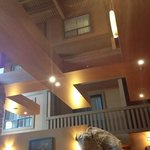 looking up at rooms from the resturant