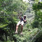 Nine zip lines and a tarzan swing.