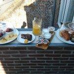 Breakfast at roof terrace.
