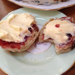 scone with cream and jam, yummy!