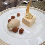 Popcorn parfait with chanterelle ice cream