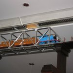 trains running along the ceiling