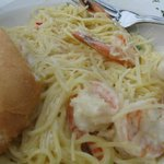 Shrimp main course  They were nice enough to substitute angel hair pasta for regular flat wide p