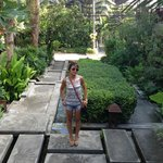 The hotel courtyard/garden
