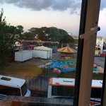 Tour buses and a carnival! What a view!!