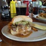"half portion of the ""Alien Burger"""