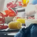 Lobster, corn on the cob and Ccole slaw