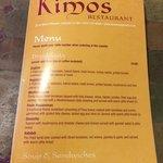 Kimos Menu