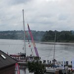 View from our balcony of the Derry Clipper docking