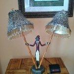 Hideous cheetah-print monkey lamp