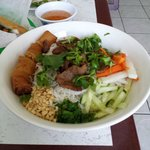 vermicelli, egg roll, and grilled beef