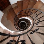 Spiral staircase looking down from the blue room