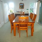 Dining Room with tea/coffee/biscuit facitity and seating for eight.