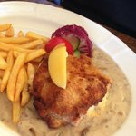 Cordon blue schnitzel with French fry potatoes