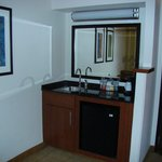 Sink and mini fridge near door