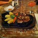 Chicken with mushroom sauce and veg