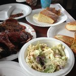 Delicious BBQ, cole slaw, and Garlic Bread
