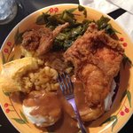 Blue Plate Special; Fried Chicken, Collards, Mac and Cheese, Mashed Potatoes and Corn Bread.