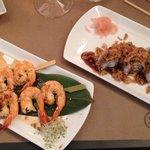 Yakitori crevette (au top) + plateau dégustation bistrot .