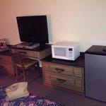 Fridge, microwave & flat-screen tv
