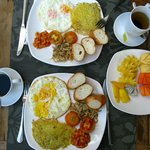 Several sets of breakfast for choosing