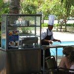 Roti Canai station at the pool bar restaurant